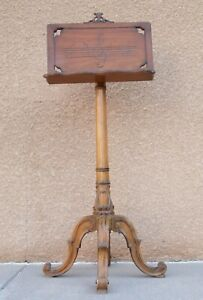 Antique-Ornate-Wooden-Music-Stand-Adjustable