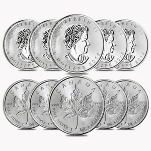Lot of 10-2020 1 oz Canadian Silver Maple Leaf .9999 Fine $5 Coin BU