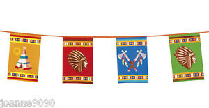 Cowboys-Indians-Native-Birthday-Party-Flag-Banner-Bunting-Decoration-Partyware