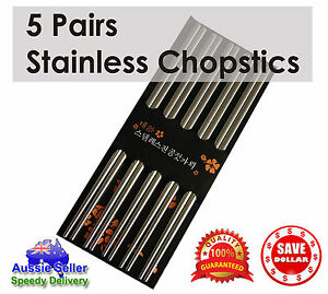 5-pairs-Stainless-Steel-Dishwasher-Safe-Light-Chopsticks-22-5cm-Quality-Cutlery