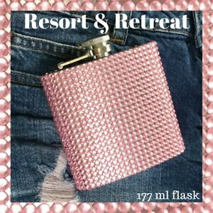 Crystal Embellished Hip Flask 177ml, Pink, 6oz, Party, Festival, Glamping