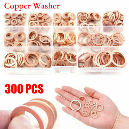 300pcs Assorted Crush Copper Washer Gasket Set Flat Ring Fuel Seal Kit With Box