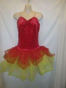 5b06535b3 Red Yellow Orange Ballet Tutu Dress Dance Costume Medium Adult MA | eBay