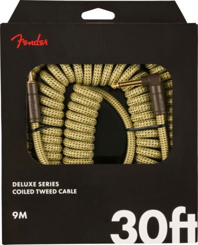 Fender Coiled Guitar//Instrument Cable YELLOW TWEED Straight to Right-Angle 30/'ft