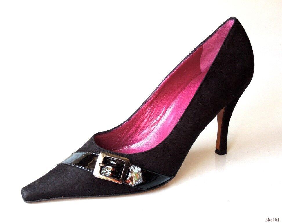 new Versani 1052 schwarz suede buckle pointy toe PUMPS Schuhes  7.5 - sexy