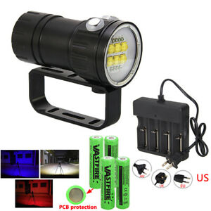 28800LM White Red Blue Underwater Photography Diving Flashlight Torch 14//18LED