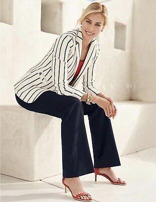 $ 140 Nuova Con Etichetta Talbots Ladys Varsity Righe Cotone Logo Bottone Giacca Materiali Superiori