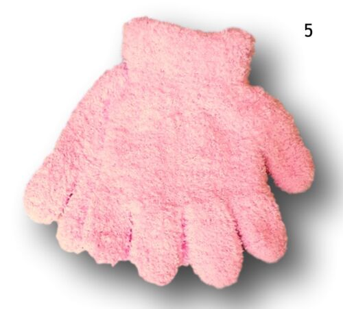 Girls Kids Children Winter Warm Fluffy Plain Gloves 5-6 Years 7-8 Years