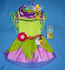 Disney Tinkerbell Fairy costume dress girls 4-6X;wings;jewelry;headband set;LOT