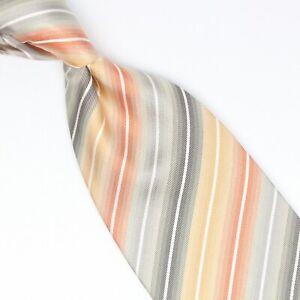 Krawatten & Fliegen Kleidung & Accessoires Ausdrucksvoll Gladson Herren Seidenkrawatte Mehrfarbig Streifen Gold Grau Orange Gewebt Direktverkaufspreis