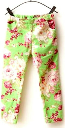 Kids Girls Casual Printed Elastic Waist Stretch Skinny Jeans Trouser Pants 2-7YR