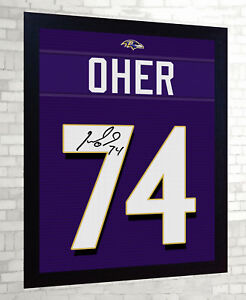 0d2916e6b Michael Oher Baltimore Ravens NFL signed Jersey t-shirt Canvas 100 ...