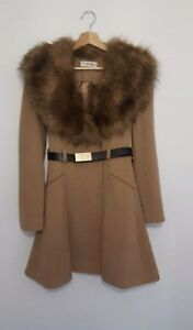 f951c8a967b6 NEW MISS SELFRIDGE Camel Tan Fur Collar Cuff Princess Skirted ...