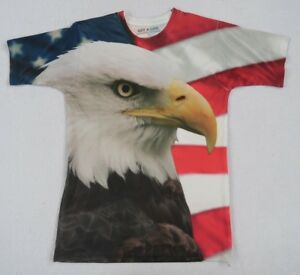 Get-A-Life-Men-039-s-100-Polyester-S-S-Crew-Neck-American-Flag-amp-Eagle-T-Shirt-S