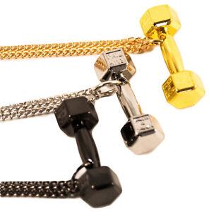 Das Bild wird geladen Halskette-mit-Anhaenger-Hantel-Fitness-Bodybuilding- Gewicht-Schmuck- f6a34462e8