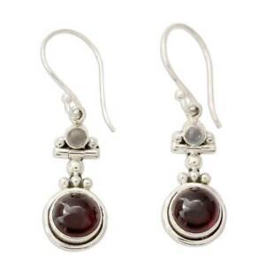Women's Moonstone Red Agate Dangle Drop Earrings Round Elegant Charm Jewelry KS