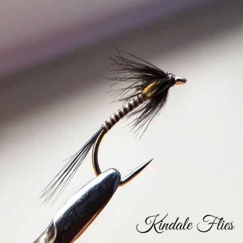 FLY Fishing Flies Trout Set di 3 Quill amministrativi Nero Taglia 14