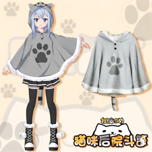 Neko-Atsume-Lolita-Cute-Cat-Backyard-Cloak-Cape-Kawaii-Gray-Sweater-Hoodie-Coat