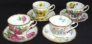 Royal-Standard-England-Bone-China-4-Cups-amp-Saucers-Set-1-Florals