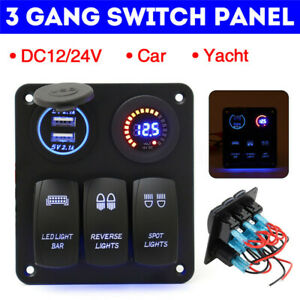 3 Gang Switch Panel Blue LED Light Car Marine Boat Waterproof Circuit Breaker