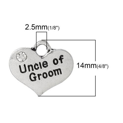 "1 OR 4 /""UNCLE OF GROOM/"" TIBETAN SILVER RHINESTONE HEART WEDDING THEME CHARM"