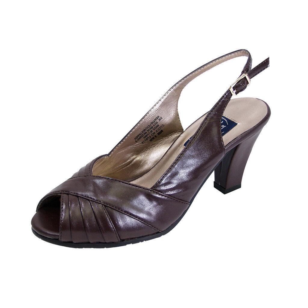 PEERAGE Daphne Women Wide Width Peep Toe Pleated Upper Slingback Leather Pump