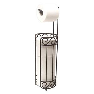 Home Basics Scroll Collection Free Standing Toilet Paper Holder Dispenser Bronze