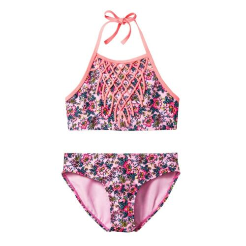Xhilaration Pink High Neck Fringe Floral Bikini 2-Pc.Set Swimwear Girls XS,S,M