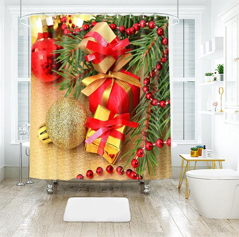 3d navidad Xmas 025 cortina de ducha impermeable fibra baño en casa de Windows