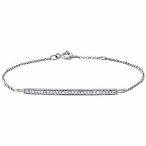 Image Is Loading 14k White Gold Round Diamond Bar Bracelet 7