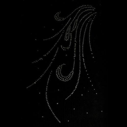 hot fix rhinestones feather motif crystal pearl iron on heat transfer design Bj