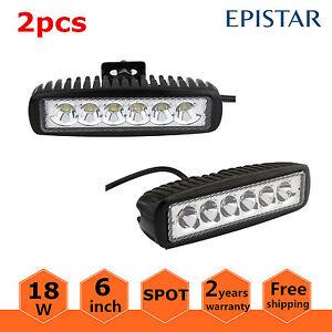 "2x 6/"" 18W LED Work Spot Light Bar Off-road Driving LAMP for 4WD//ATV//UTE//Truck"
