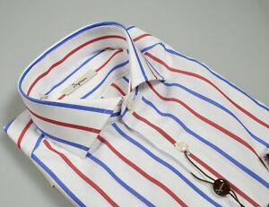 Camicia-Ingram-a-righe-Blu-e-Rosso-Slim-fit-in-pur-cotone-Collo-alla-Francese