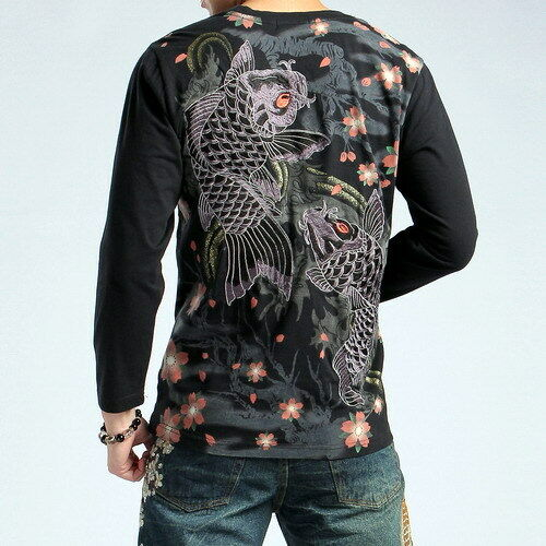 New Mens Japanese Pattern T-Shirt Long Sleeve Embroidery Sukajan Sakura Carp Koi