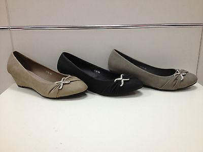 Buono Femmes Chaussures Escarpins Compensée Neuf Noir Gris Taupe P36/41 Y15