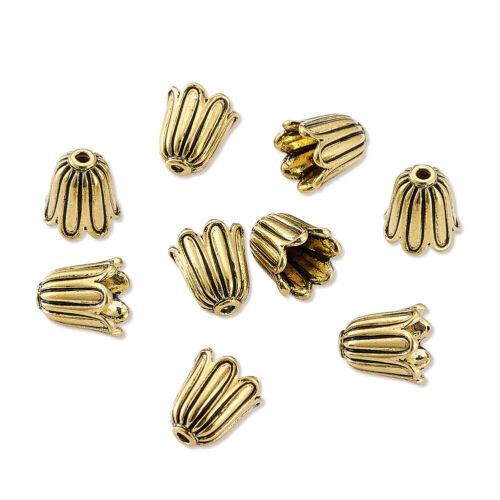 20 pcs CADMIUM LIBRE Antique Golden Flower Tibétain Style alloy bead Caps 10x10mm