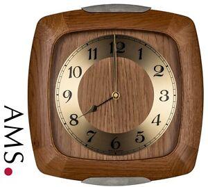 AMS-5804-4-Horloge-murale-Radio-pilote-radio-pilotee-Analogue-bois-chene-massif