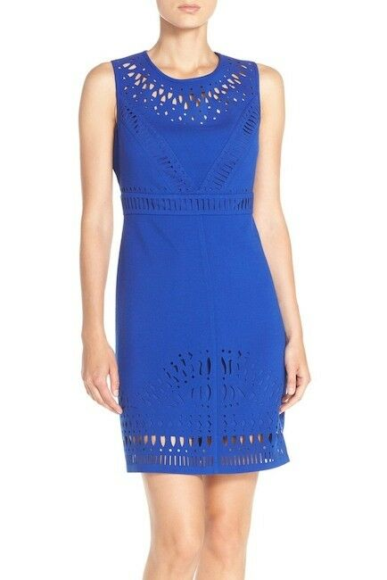 Eliza J Laser Cut Crepe Sheath Dress NWT Sz 4 ModCloth Mingling Mood Cobalt bluee
