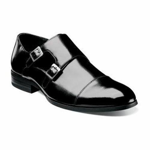 Stacy Adams Men/'s Gordon Cap Toe Monk Strap Slip On Black 20148-001