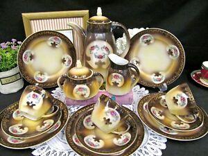 GERMAN-teapot-creamer-sugar-tea-cup-and-saucer-trio-teacup-set-roses-floral