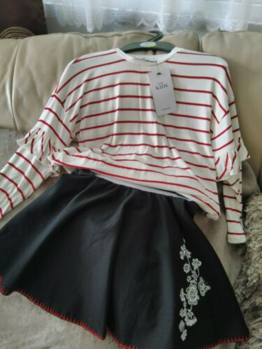 MARKS /& SPENCER GIRLS TOP AND SKIRT 2 PICS SET  AGE 6-7  NEW