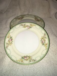 Vintage-Set-of-4-Meito-China-Salad-Plates-7-3-4-Made-in-Japan-Hand-Painted