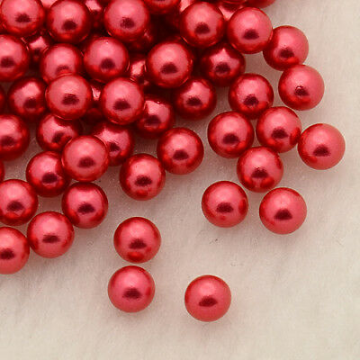 Pcs Art Hobby Jewellery Making Crafts Coral Plain Rondelle Beads 4 x 6mm Red 95