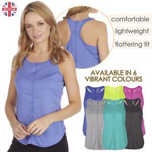 Senoras-para-mujer-Sports-Gym-Yoga-Top-T-Shirt-rendimiento-que-absorbe-activo-Talla-S-XXL