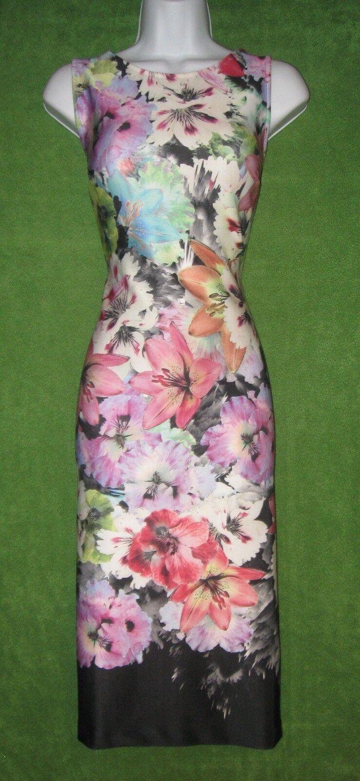 Beige by eci Multi-Farbe Floral Stretch Knit Sheath Work Social Dress 4