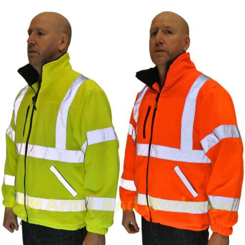 Eccezionale Hi Viz IN PILE SUPER Giacca Sicurezza Workwear Cappotto pienamente multati CLASSE 3