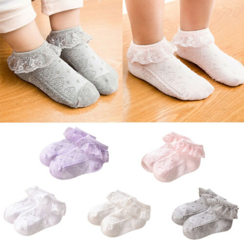 Baby Girls Flower Lace Ankle Short Socks Newborn Infant Toddlers Cotton Socks A