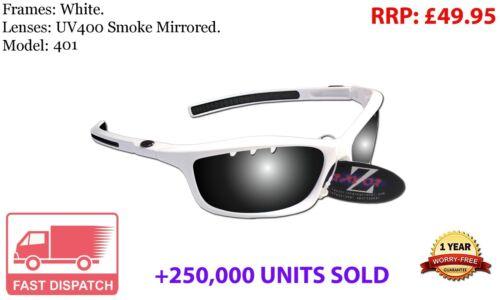 401 RayZor Uv400 White Sports Wrap Sunglasses Vented Smoke Mirrored Lens RRP£49