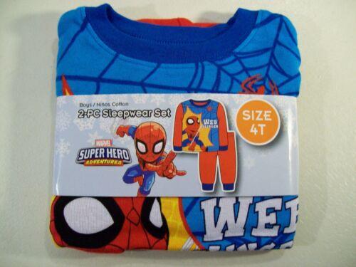 NEW BOY/'S MARVEL SPIDER-MAN 2 PIECE KNIT PAJAMA SET SZ 4T SUPER HERO ADVENTURES