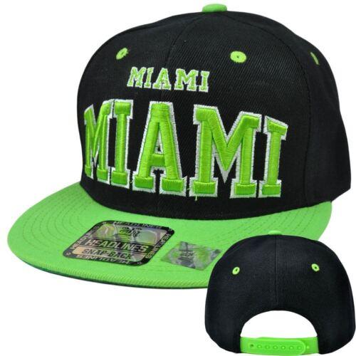 Miami Florida Fl 305 Stadt Headlines USA Snapback Flat Bill Constructed Mütze Weitere Ballsportarten